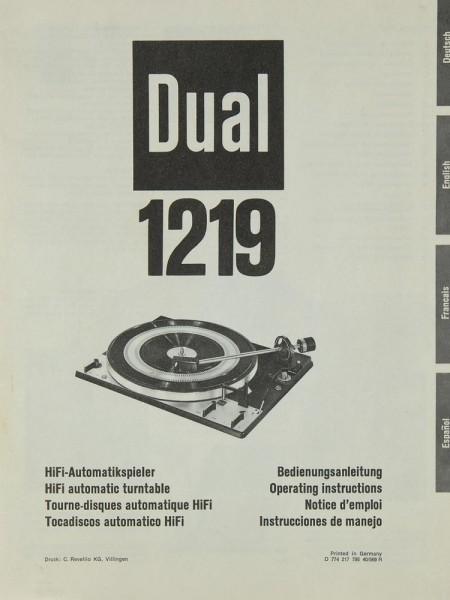 Dual 1219 Bedienungsanleitung