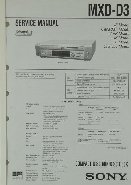 Sony MXD-D 3 Schaltplan / Serviceunterlagen