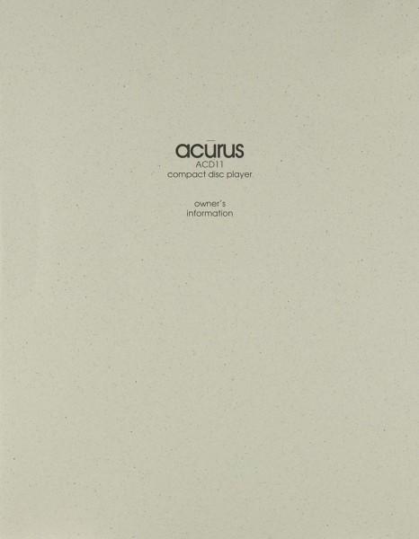 Acurus ACD 11 Bedienungsanleitung