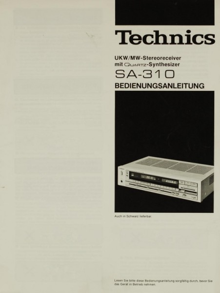 Technics SA-310 Bedienungsanleitung