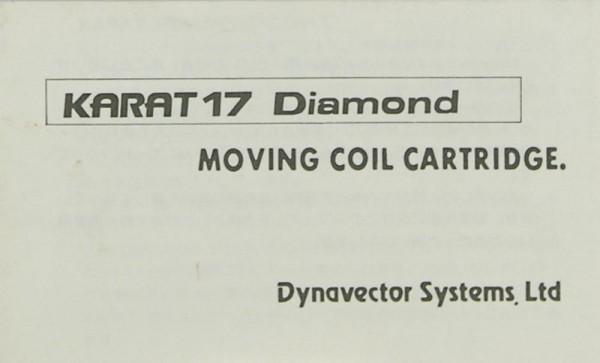 Dynavector Karat 17 Diamond Bedienungsanleitung