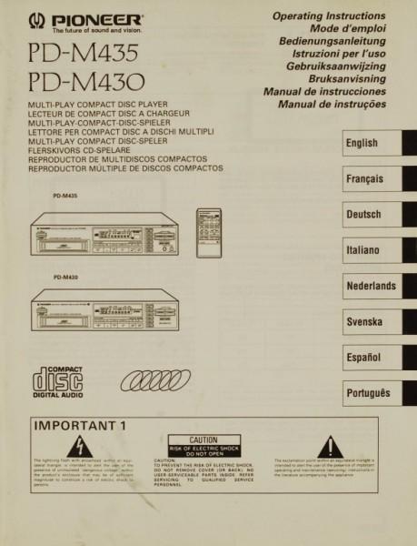 Pioneer PD-M 435 / PD-M 430 Bedienungsanleitung