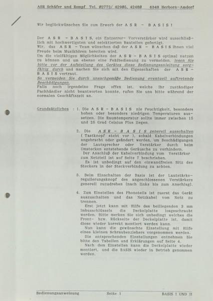 ASR Basis Bedienungsanleitung