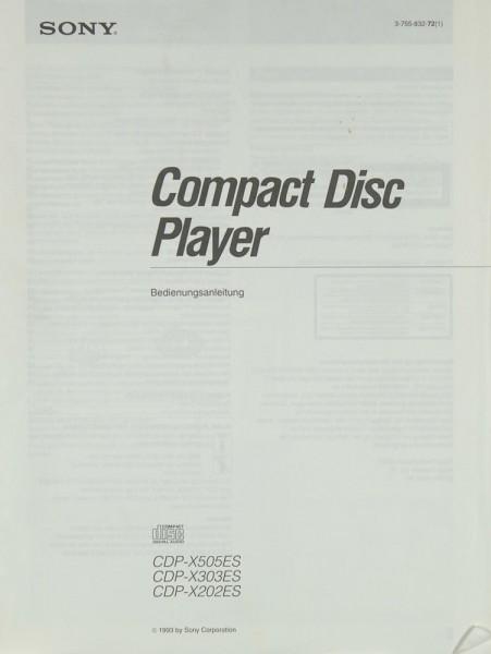 Sony CDP-X 505 ES / 303 ES / 202 ES Bedienungsanleitung