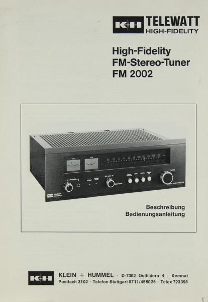 Klein + Hummel FM 2002 Bedienungsanleitung