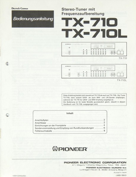 Pioneer TX-710 / TX-710 L Bedienungsanleitung