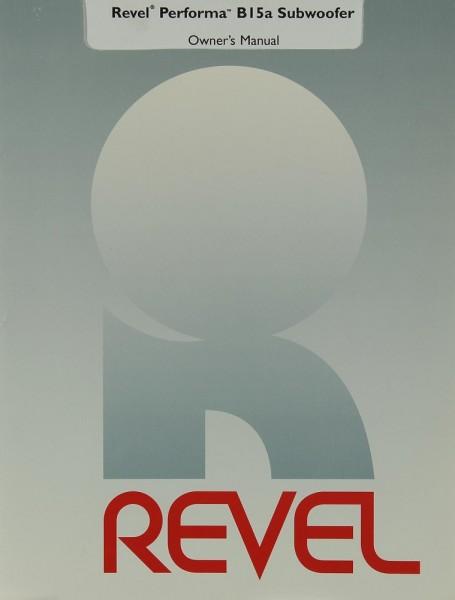 Revel Performa B 15 a Subwoofer Bedienungsanleitung