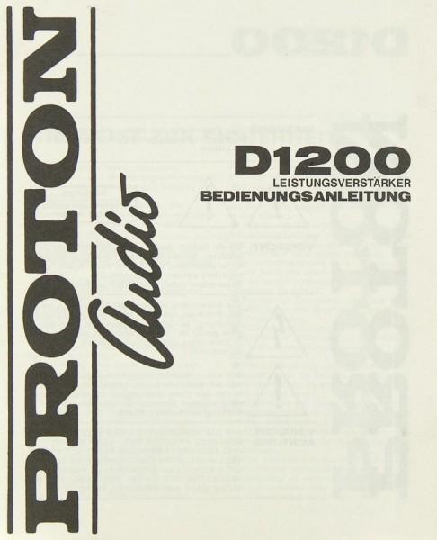 Proton Audio D 1200 Bedienungsanleitung