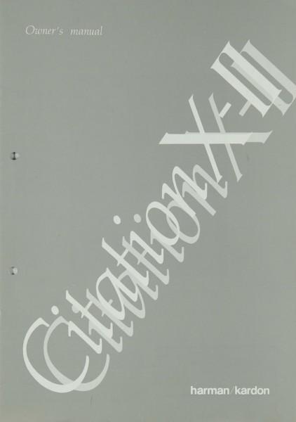 Harman / Kardon Citation X-II Bedienungsanleitung