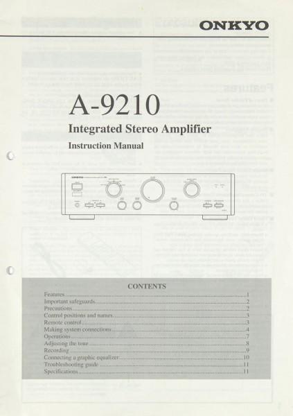 Onkyo A-9210 Bedienungsanleitung