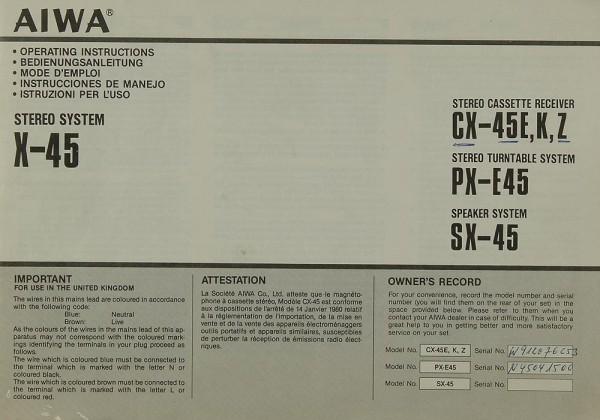 Aiwa X-45 (CX-45 E, K, Z / PX-E 45 / SX-45) Bedienungsanleitung