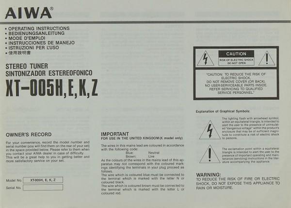 Aiwa XT-005 H/E/K/Z Bedienungsanleitung