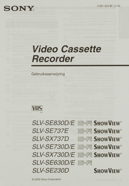 Sony SLV-SE Serie / SLV-SX Serie Bedienungsanleitung