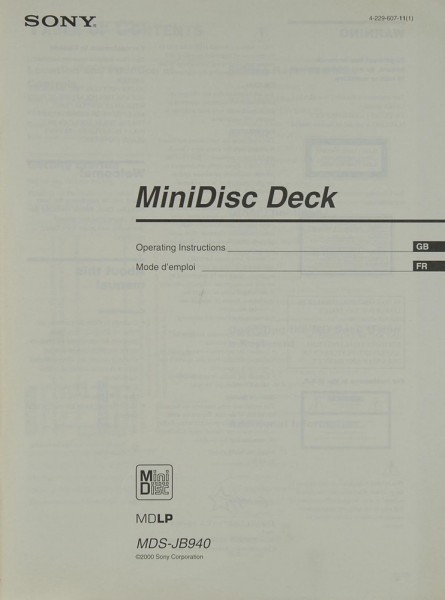 Sony MDS-JB 940 Bedienungsanleitung