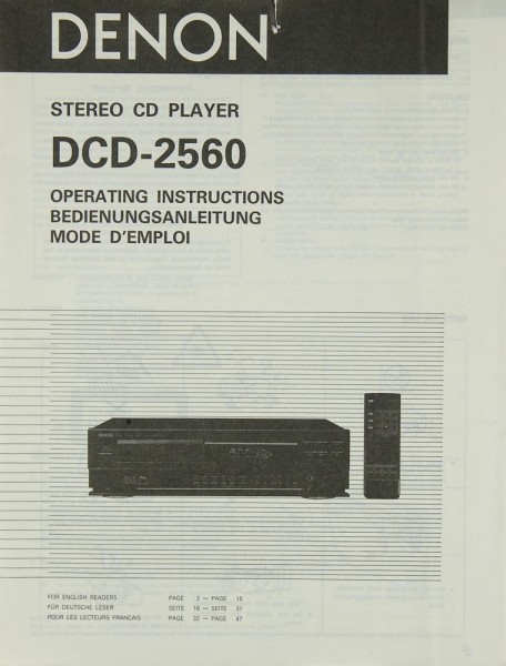Denon DCD-2560 Bedienungsanleitung