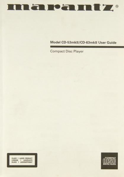 Marantz CD-53 MK II / CD-63 MK II Bedienungsanleitung