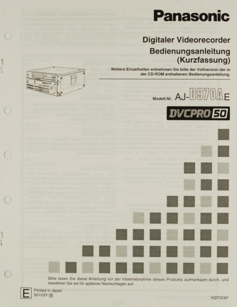 Panasonic AJ-D 970 A E Bedienungsanleitung