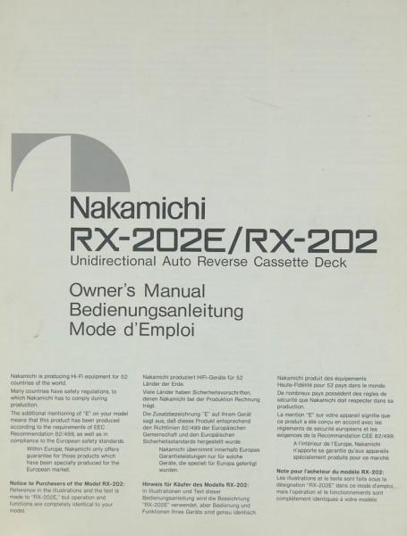 Nakamichi RX-202 E / RX-202 Bedienungsanleitung