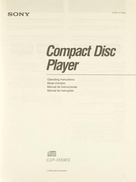Sony CDP-X 559 ES Bedienungsanleitung