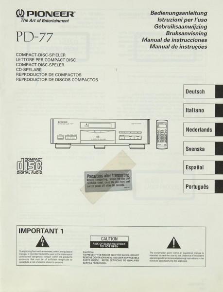 Pioneer PD-77 Bedienungsanleitung