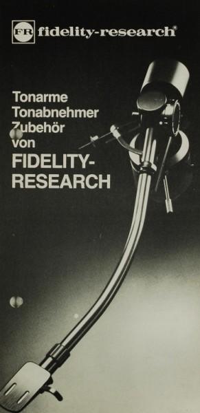 Fidelity-Research Tonarme. Tonabnehmer. Zubehör. Prospekt / Katalog