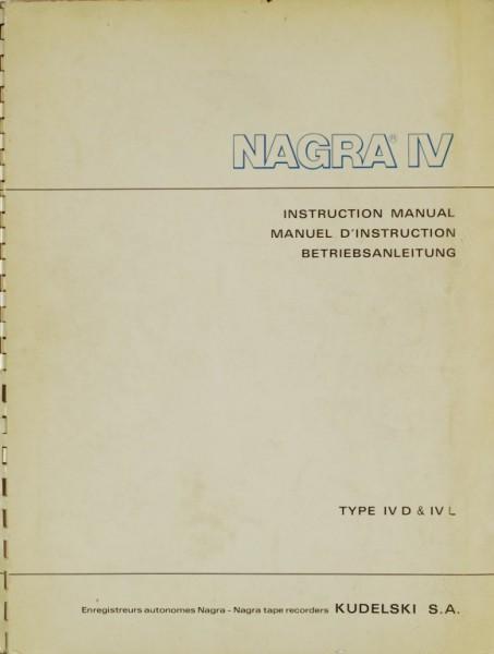 Nagra Kudelski Nagra IV (Type IV D & IV L) Bedienungsanleitung