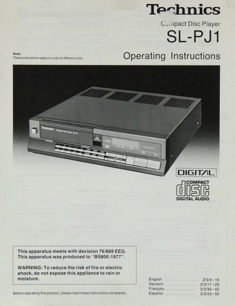 Technics SL-PJ 1 Bedienungsanleitung