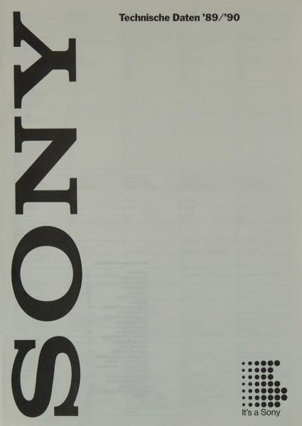 Sony Technische Daten ´89/´90 Prospekt / Katalog