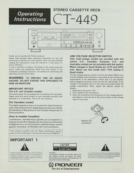 Pioneer CT-449 Bedienungsanleitung