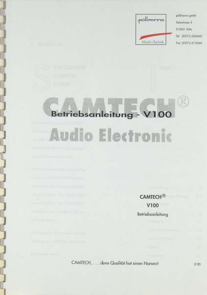 Camtech V 100 Bedienungsanleitung