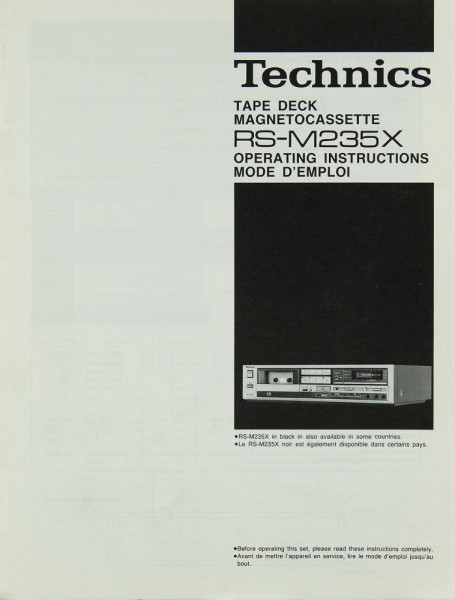 Technics RS-M 235 X Bedienungsanleitung