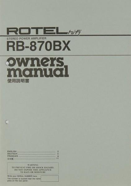 Rotel RB-870 BX Bedienungsanleitung