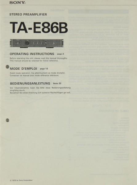 Sony TA-E 86 B Bedienungsanleitung