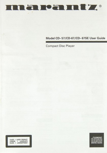 Marantz CD-57 / CD-67 / CD-67 SE Bedienungsanleitung
