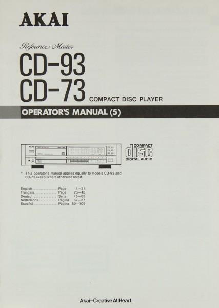 Akai CD-93 / CD-73 Bedienungsanleitung