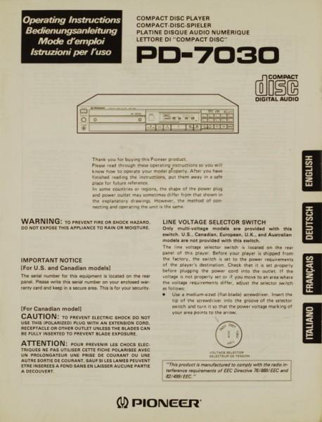 Pioneer PD-7030 Bedienungsanleitung