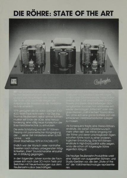 Reußenzehn Die Röhre: State of the Art Prospekt / Katalog