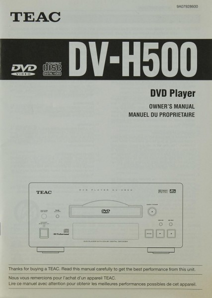Teac DV-H 500 Manual