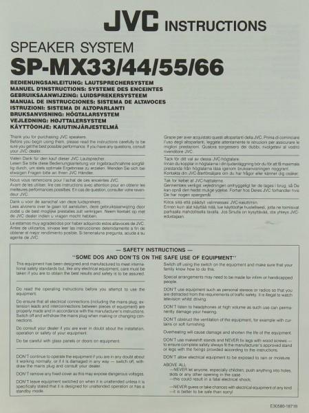 JVC SP-MX 33 / 44 / 55 / 66 Bedienungsanleitung