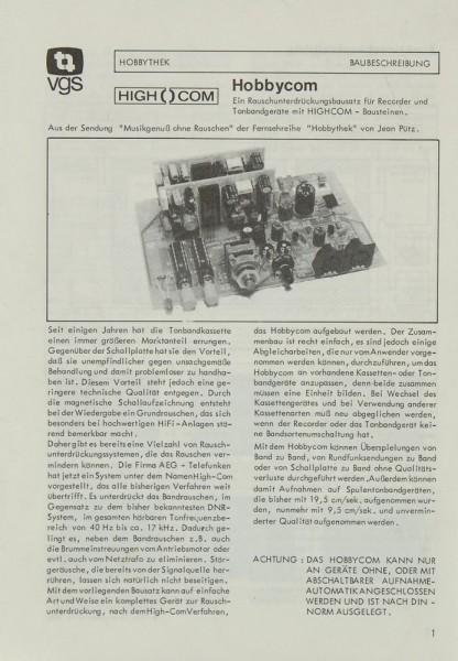 Hobbythek Hobbycom VGS Bauanleitung