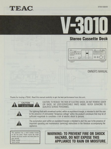 Teac V-3010 Bedienungsanleitung