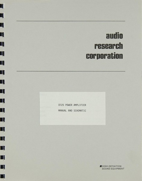 Audio Research D 125 Bedienungsanleitung