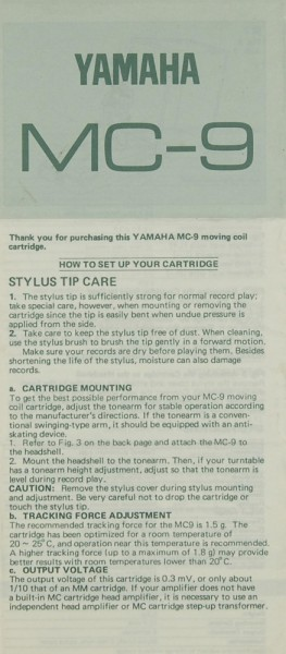 Yamaha MC-9 Bedienungsanleitung