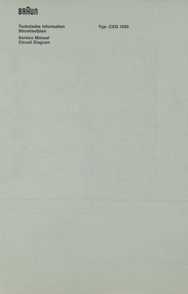 Braun CSQ 1020 Schaltplan / Serviceunterlagen