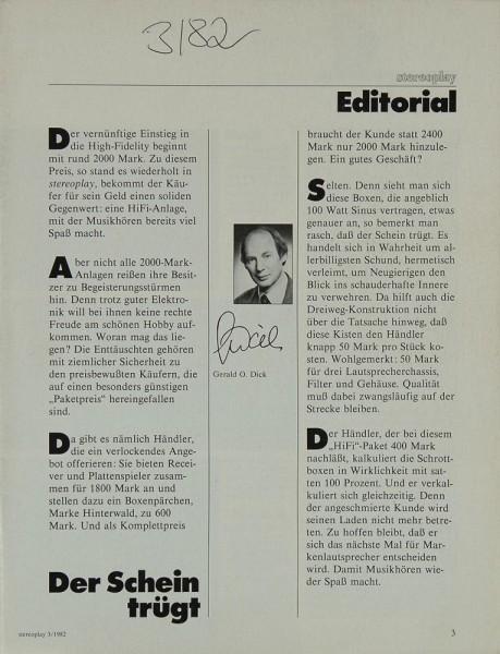 Stereoplay 3/1982 Zeitschrift
