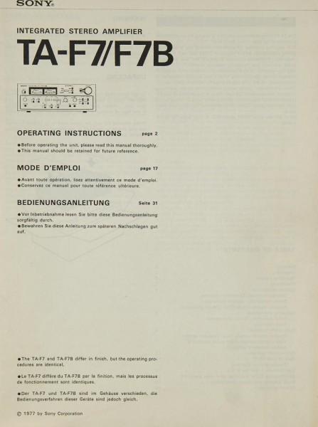 Sony TA-F 7 / TA-F 7 B Bedienungsanleitung