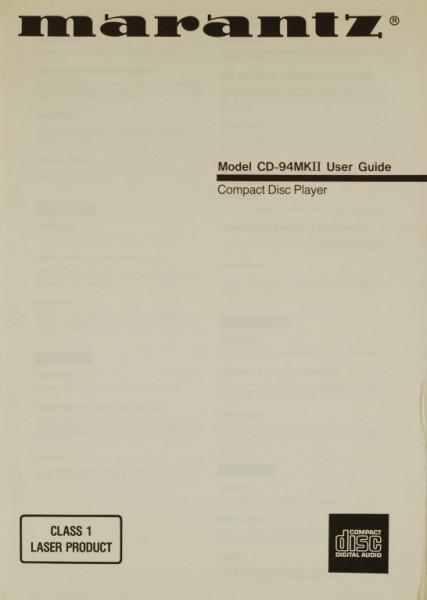 Marantz Model CD-94 MK II Bedienungsanleitung