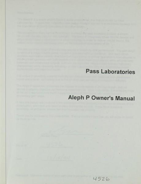 Pass Laboratories Aleph P Bedienungsanleitung