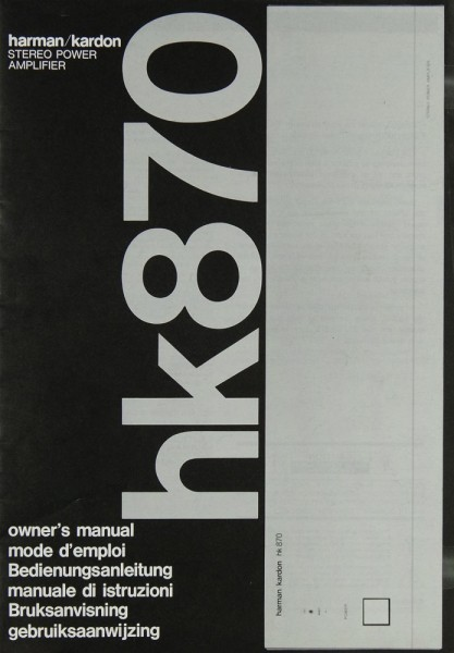 Harman / Kardon HK 870 Bedienungsanleitung