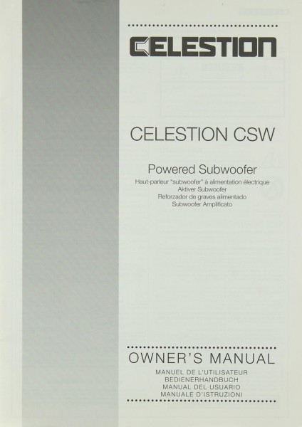Celestion Celestion CSW Bedienungsanleitung